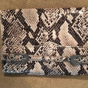 Rebecca Minkoff snakeskin clutch w/ long strap
